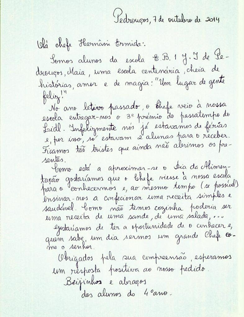 Carta dos alunos do 4 ano, da Eb1JI Pedrouços